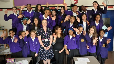Shappi Khorsandi with the Year 7 history class and teacher Rebecca Maughan