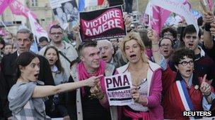 Frigide Barjot, campaigner against same-sex marriage in France in Paris, 23 April 2013