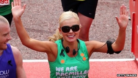 Katherine Jenkins after running the London Marathon