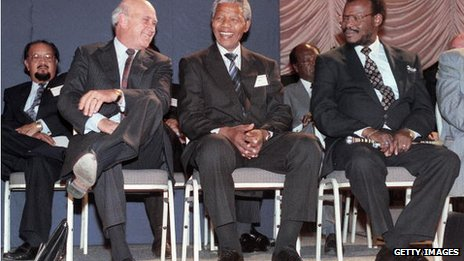 From L-R: FW de Klerk, the last apartheid-era president, Nelson Mandela, South Africa's first black president and Mangosuthu Buthelezi, leader of the  Inkatha Freedom Party