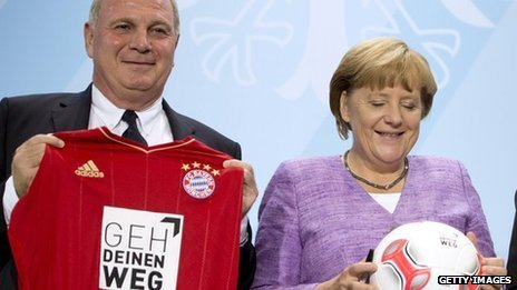 Uli Hoeness with Angela Merkel