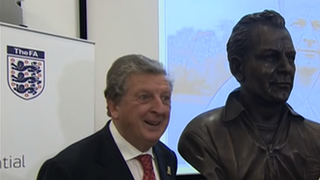 England manager Roy Hodgson with the bust of Walter Winterbottom