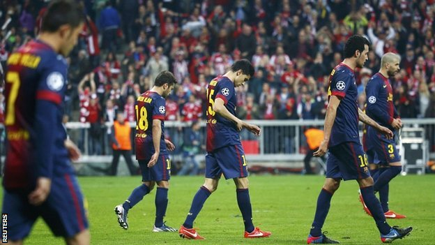 Barcelona players after their defeat by Bayern Munich