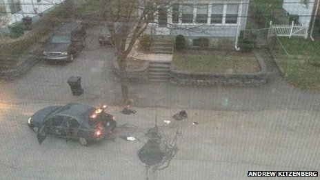 The bomb squad finally inspected the entire vehicle and all the backpacks beside it and cleared the area on Laurel St, Massachusetts