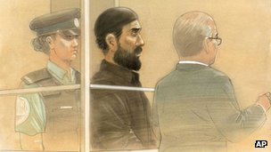 In this courtroom sketch, Raed Jaser appears in court in Toronto on Tuesday