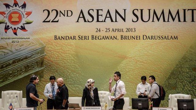 Delegates prepare for the Asean summit in Brunei