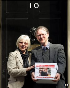 Bookshop couple Frances and Keith Smith outside No 10 Downing Street