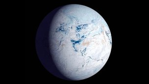 Artwork depicting Snowball Earth 