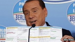 Silvio Berlusconi at a news conference at the headquarters of People of Freedom Party (PDL) in Rome