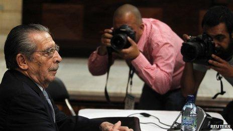 Gen Efrain Rios Montt in court on 19 April 2013