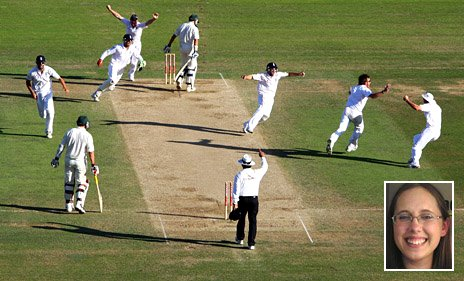 Main image of England winning the 5th Ashes test at the Brit Oval in 2009 [Getty], with an inset of Ashley Kerkes