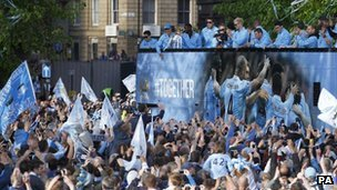 Manchester City victory parade after winning the league in 2012