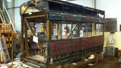 Tram carriage at Ipswich Transport Museum