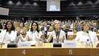 Cuban 'Ladies in White' hold hands in the European Parliament in Brussels (23 April 2013)