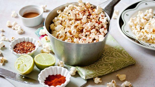 Popcorn, cinnamon, chilli flakes, lime, paprika