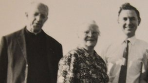 A photo taken in 1969 of Louis as a young man with his mother, Maria and Paul Bouvette at their reunion