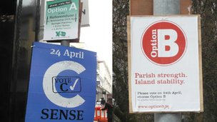 Option A, B and C campaign posters