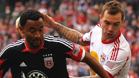 Jonny Steele in action for the New York Red Bulls against DC United
