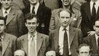 Close up of James Watson and Francis Crick in a group portrait of Physics Research Students, Cavendish Laboratory, University of Cambridge (June, 1952)