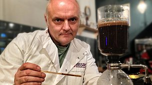 Dave Hart with a coffee siphon