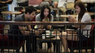 Students at coffee shop in Bangkok