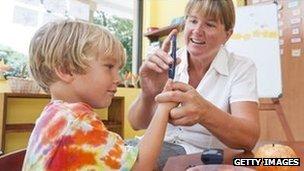 Boy having his blood sugar tested