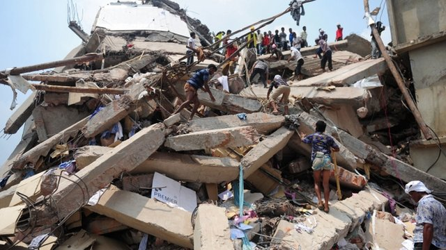 Collapsed factory in Savar