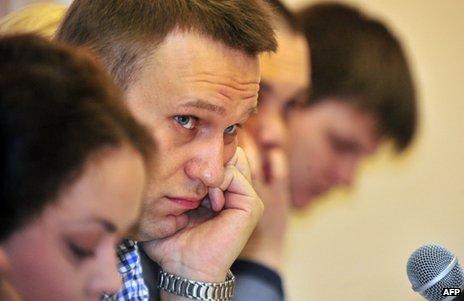 Alexei Navalny in court in Kirov, Russia, 25 April