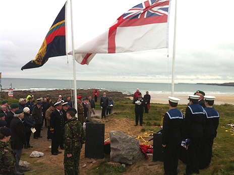 The service was held on the beach of Freshwater West in Pembroke, 70 years after the disaster
