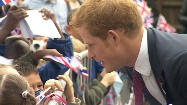 Prince Harry meets schoolchildren