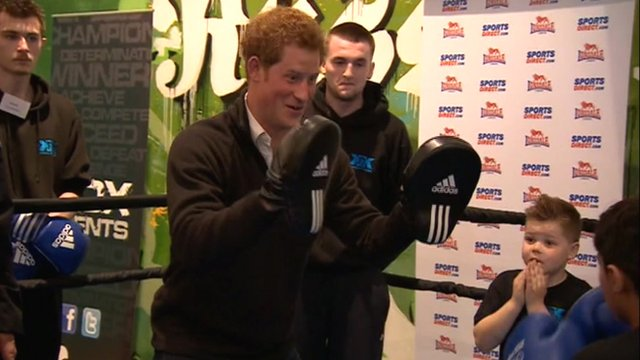 Prince Harry in the boxing ring