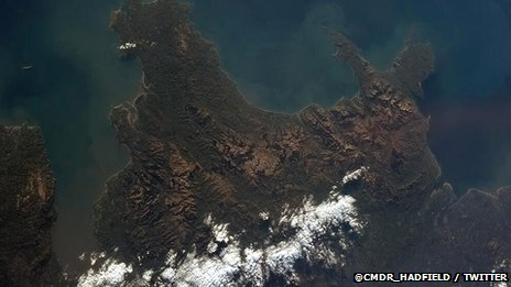 A photograph of Wales taken from the International Space Station