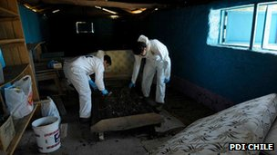 Chilean forensic experts examining house