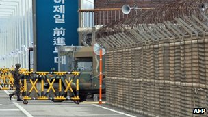 A military checkpoint leading to North Korea's Kaesong Industrial Complex, 25 April 2013