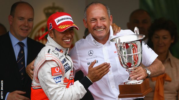 Ron Dennis and Lewis Hamiton of McLaren