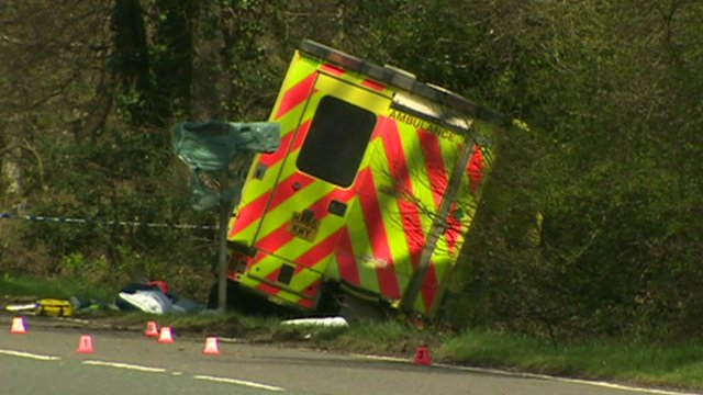 Ambulance crashed into side of road