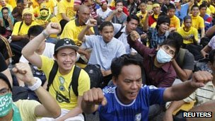 Demonstrators at a Bersih rally on 28 April 2012