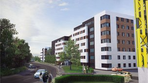 Artist's impression of student accommodation in Madeira Road