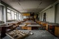 A school room in Middle School Five next to the stadium in east Pripyat,
