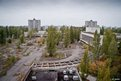Main square of Pripyat city from the top floor of the Polesk hotel