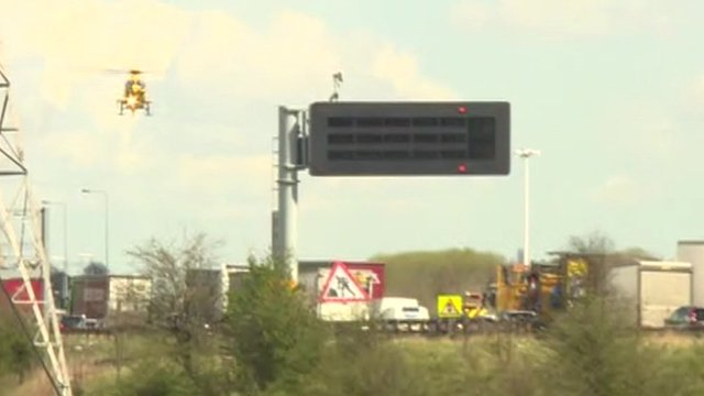 Air ambulance over congested M62