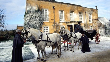 A horse-drawn carriage in a BBC production of Pride and Prejudice