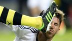Dortmund's defender Neven Subotic catches Real Madrid's defender Sergio Ramos with his foot