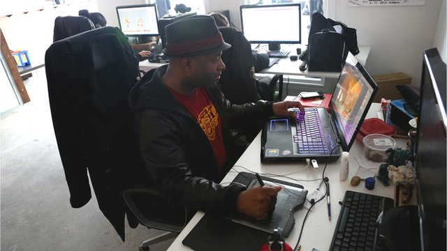 Lateef Martin working at a computer