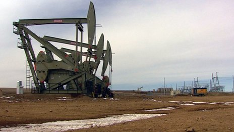 Oil derricks at Bakken