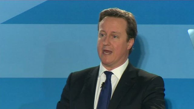 David Cameron speaking to Conservatives in Swansea