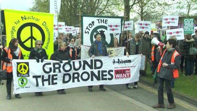 Anti-drone protesters