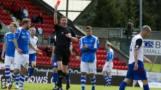 Referee Craig Thomson sends off Inverness CT's David Raven