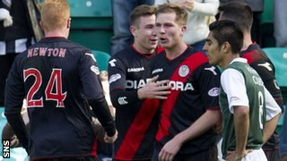 St Mirren players congratulate Marc McAusland after his first goal in the match