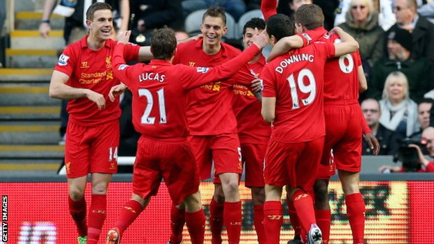 Liverpool players celebrate opening goal